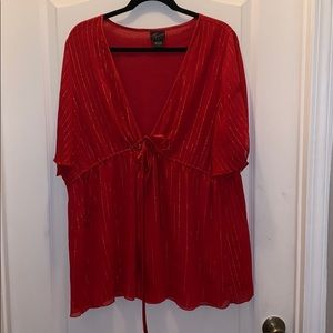 Red with gold blouse